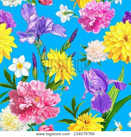 Seamless Pattern With Peonies, Iris, Narcissus And Rudbeckia Flowers On A Blue Background. Hand Draw