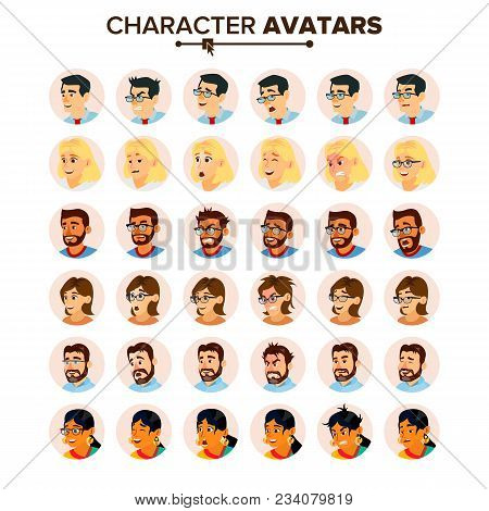 Business People Avatar Vector. Man, Woman. Face, Emotions. People Character Avatar Placeholder. Offi