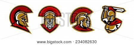 A Collection Of Colorful Logos, A Spartan's Head, A Corinthian Helmet, A Warrior Waves His Sword, Th