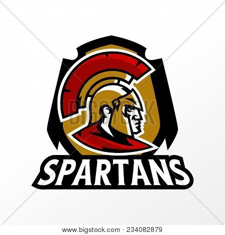 Colorful Logo, Badge, Emblem Of Spartan Head And Corinthian Helmet. Greek Soldier, Warrior, Hero, Sh