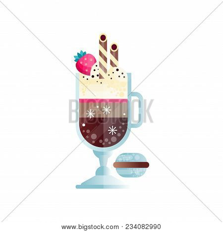 Glass Of Chilled Coffee With Ice-cream Balls And Ripe Strawberry On Top. Tasty Cold Drink With Drink
