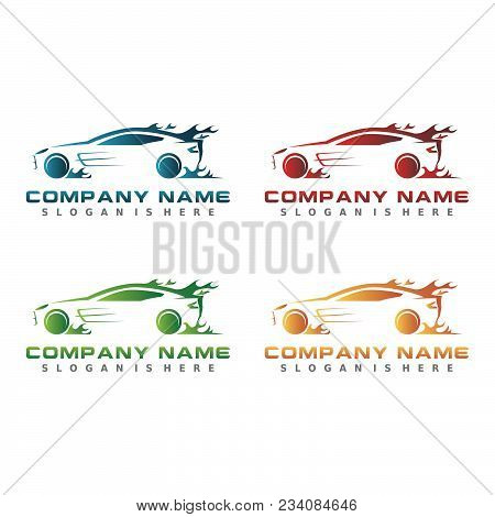 Business Set Of Car Modern Vector. Sports Car Silhouette. Red Blue Orange Green Color .logo Design T