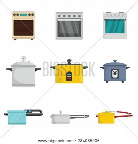 Cooker Oven Stove Pan Burner Icons Set. Flat Illustration Of 9 Cooker Oven Stove Pan Burner Vector I