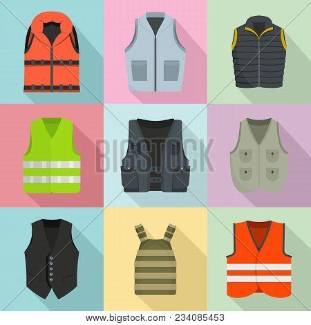 Vest Waistcoat Jacket Suit Icons Set. Flat Illustration Of 9 Vest Waistcoat Jacket Suit Vector Icons