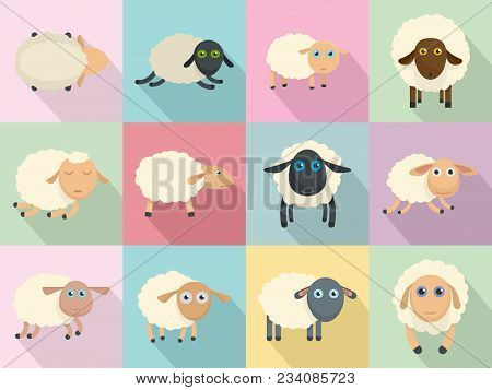 Sheep Cute Lamb Farm Icons Set. Flat Illustration Of 12 Sheep Cute Lamb Farm Vector Icons For Web