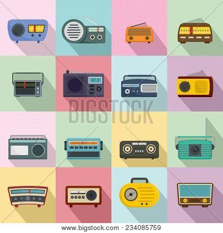 Radio Music Old Device Icons Set. Flat Illustration Of 16 Radio Music Old Device Vector Icons For We