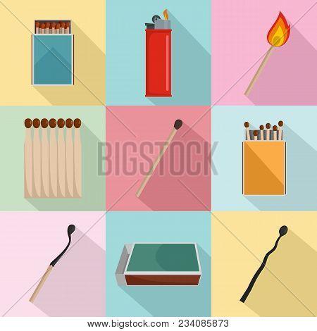 Safety Match Ignite Burn Icons Set. Flat Illustration Of 9 Safety Match Ignite Burn Vector Icons For