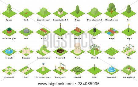 Park Nature Elements Landscape Design Icons Set. Isometric Illustration Of 32 Park Nature Elements L