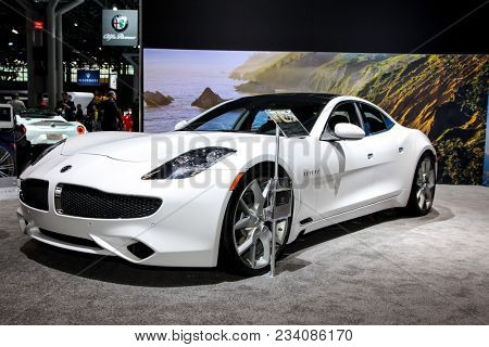 NEW YORK CITY-MARCH 28: 2018 Karma Revero hybrid electric luxury super car shown at the New York International Auto Show 2018, at the Jacob Javits Center.