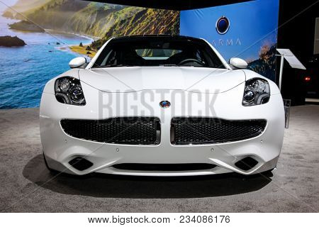 NEW YORK CITY-MARCH 28: 2018 Karma Revero hybrid electric luxury cars shown at the New York International Auto Show 2018, at the Jacob Javits Center. This was Press Preview Day One of NYIAS, on March