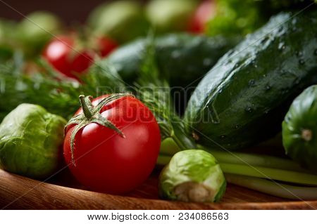 Fresh Vegetables Over Wooden Background, Close-up, Flat Lay, Shallow Depth Of Field. Assortment Of F