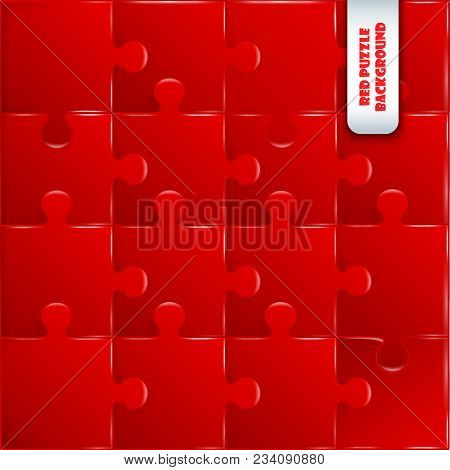 Red Plastic Pieces Puzzle Game Complete Background