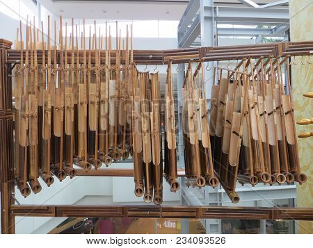Serpong, Indonesia - March 25, 2018: Angklung, Indonesian Musical Instrument Consisting Of Two To Fo