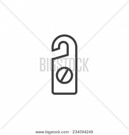 Do Not Disturb Outline Icon. Linear Style Sign For Mobile Concept And Web Design. Hotel Tag Simple L