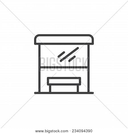 Bus Stop Outline Icon. Linear Style Sign For Mobile Concept And Web Design. Transport Stop Line Vect
