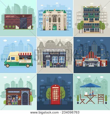 Entertainment City Places. Public Buildings, City Infrastructure And Environment Concepts In Flat De
