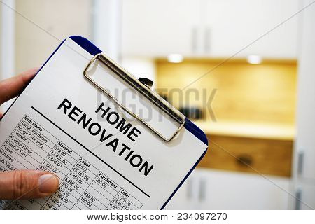 Clipboard With Home Renovation Cost Or Estimate.