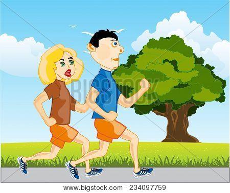 Girl And Lad On Matutinal Run On Nature