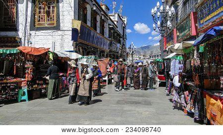 People On Street In Lhasa, Tibet