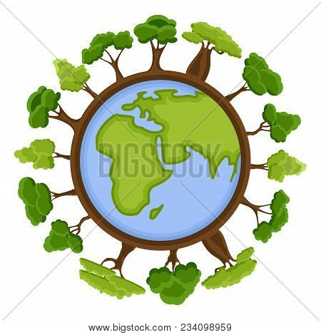 Ecology Concept With Green Eco Earth And Trees. Cartoon Earth Planet Globe With Environment Elements