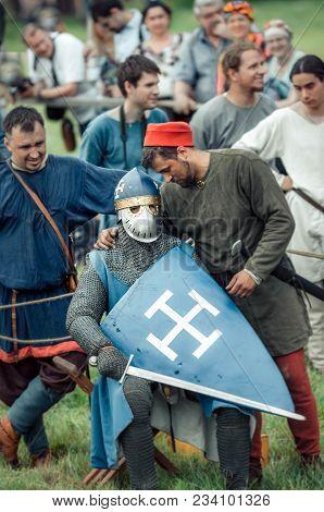 Ritter Weg, Russia, Morozovo, April 2017:festival Of The European Middle Ages. Scene: Mentor Instruc