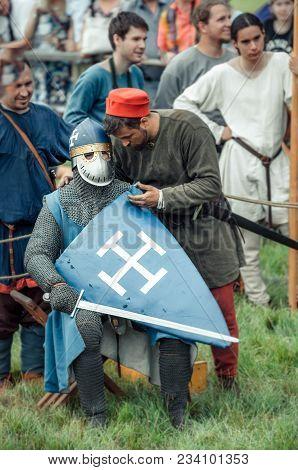Ritter Weg, Russia, Morozovo, April 2017: Festival Of The European Middle Ages. Scene: Mentor Instru