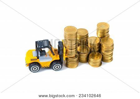 Mini Forklift Truck Loading Stack Coin With Steps Of Gold Coin, Isolated On White Background With Co