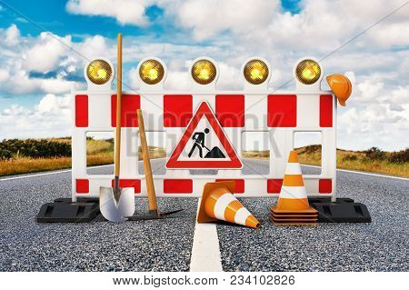 Street Barrier With Shovel, Traffic Sign, Traffic Cone And Safety Helmet On The Road 3d Rendering
