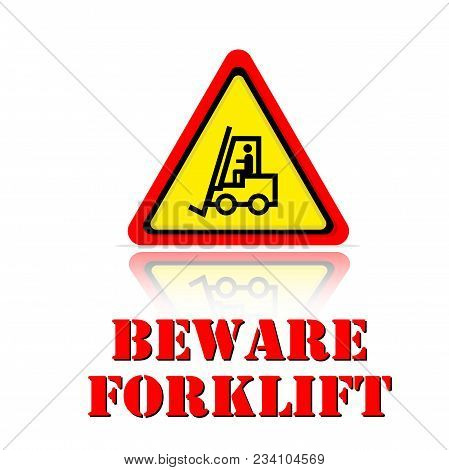 Yellow Warning Beware Forklift Icon Background Vector Image