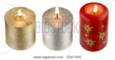 three candles isolated on white close up shoot poster