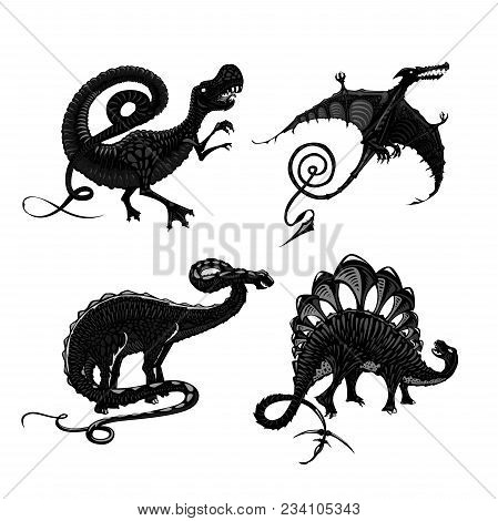 Tyrannosaurus, Pterodactyl, Stegosaurus And Apatosaurus. Dinosaurs Black Silhouette Isolated On Whit