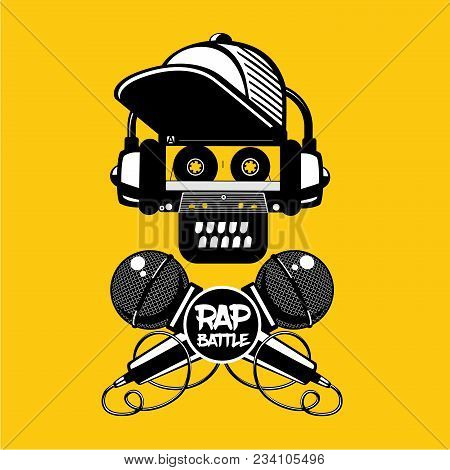Hip-hop Party. Rap Battle Sign With Skull And Two Microphones. Retro Style Illustration.