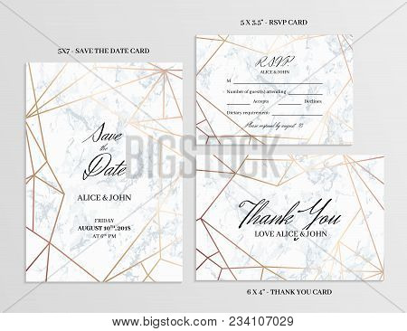 Wedding Set. Save The Date, Thank You And R.s.v.p. Cards Template Of Geometric Design. White Marble
