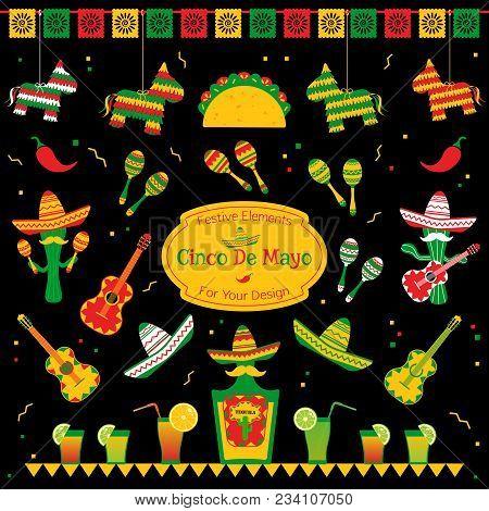Set Of Traditional Symbols For Cinco De Mayo Fiesta. Sombrero And Maracas, Tequila Bottle And Cockta