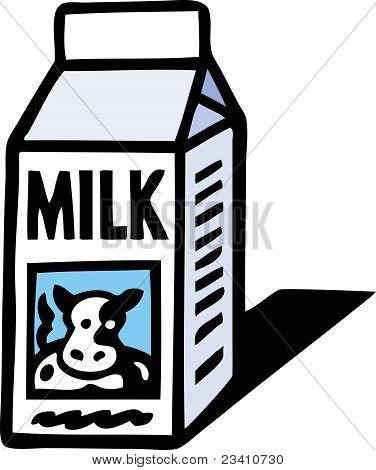 A milk carton has a picture of a cow on it. poster