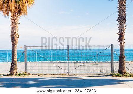Closed Access To The Sea. Private Coastal Area. Mediterranean Sea.