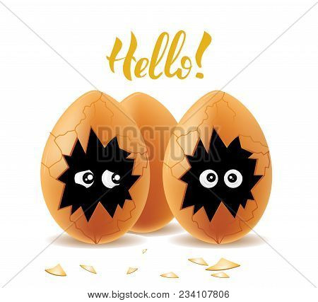 Vector Illistration With Lettering And Cute Funny Eggs.