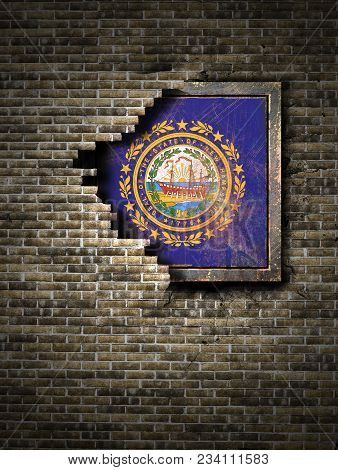 3d Rendering Of A New Hampshire State Flag Over A Rusty Metallic Plate Embedded On An Old Brick Wall