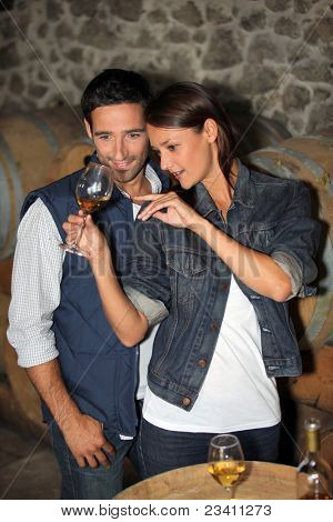 portrait of a couple tasting wine