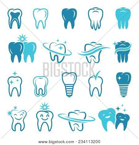 Stylized Monochrome Pictures Of Teeth. Dental Concept Illustrations For Logos. Dental Care Logo, Hea