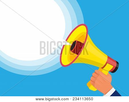 Businessman Holding Megaphone In Hand. Advertising Template With Picture Of Sound Speaker. Megaphone