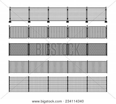 Set Of Different Modular Metal Fence Silhouettes. Vertically Seamless Metal Fence Elements. Black Si