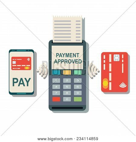 Pos Terminal Confirms The Payment By Smartphone And Card. Vector Illustration In Flat Design On Whit
