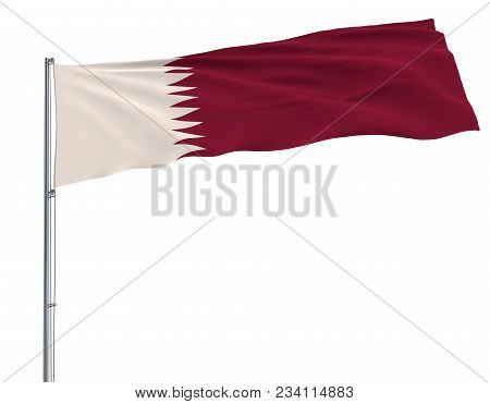 Isolate Flag Of Qatar On A Flagpole Fluttering In The Wind On A White Background, 3d Rendering