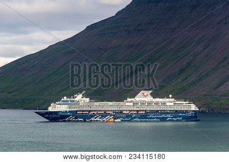 Isafjordur, Iceland - July 7, 2014: Mein Schiff 2 Cruise Ship Of Tui Cruises Company Departing From