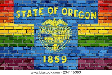 Brick Wall Oregon And Gay Flags - Illustration, Rainbow Flag On Brick Textured Background,  Abstract