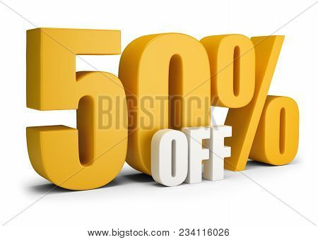 50 Percent Off. 3d Image. White Background. Text.