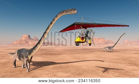 Computer Generated 3d Illustration With An Ultralight Trike And The Dinosaur Omeisaurus
