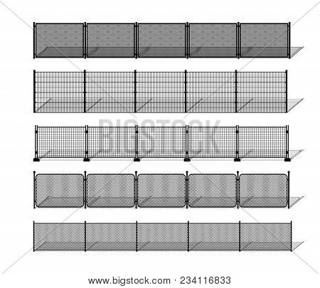 Various Metal Wire And Chain-link Fence Silhouettes With Shadows. Horizontally Seamless Modular Meta