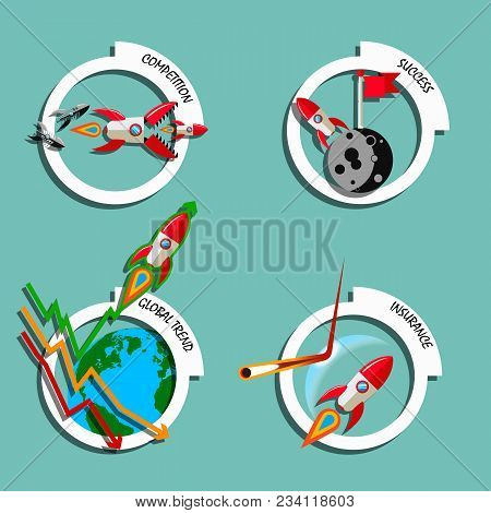 Rocket Business Flat Art Style Vector Set. Stock Illustration Of Competition, Success, Insurance, Gl